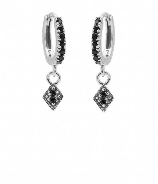 Karma Oorbellen Hinge Hoops Zirconia Diamond Zilver (M2653HB)