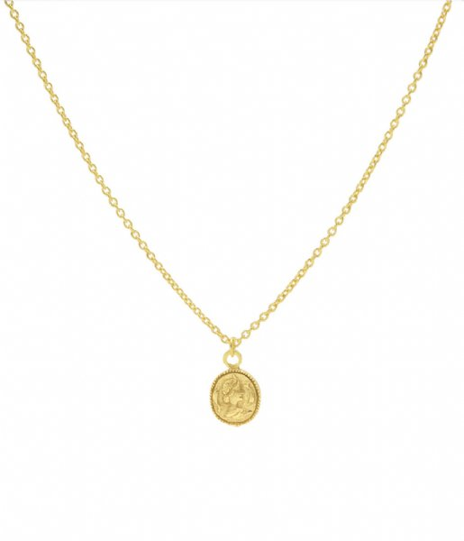 Karma Ketting Karma Necklace Coin Zilver Goldplated (T37)
