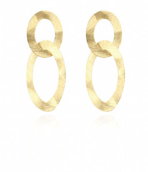 LOTT Gioielli Oorbellen Classic Earring Double Oval Charm Satin Gold plated