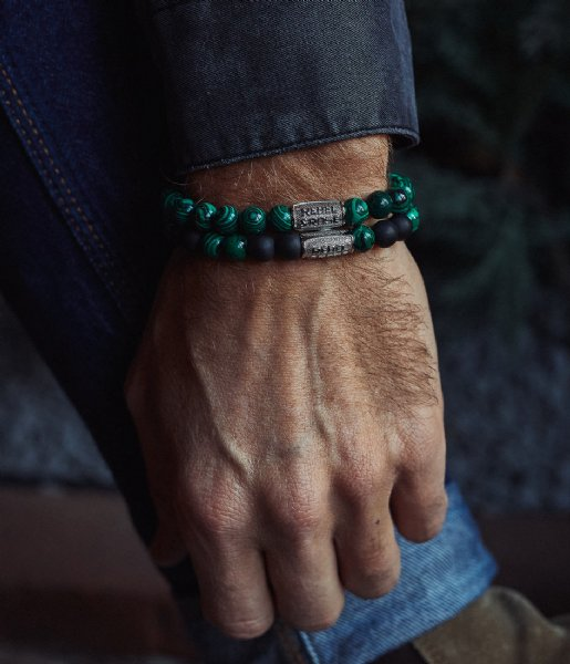 Rebel and Rose Armband Malachite Green - 8mm Groen