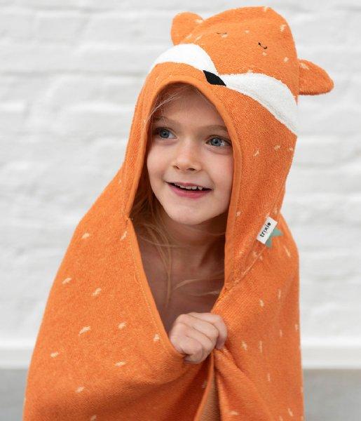 Trixie Plaid Hooded towel , 75x75cm - Mr. Fox Orange