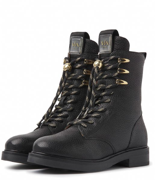 VIA VAI Biker boot Viola Lake Cesano Nero Ottone