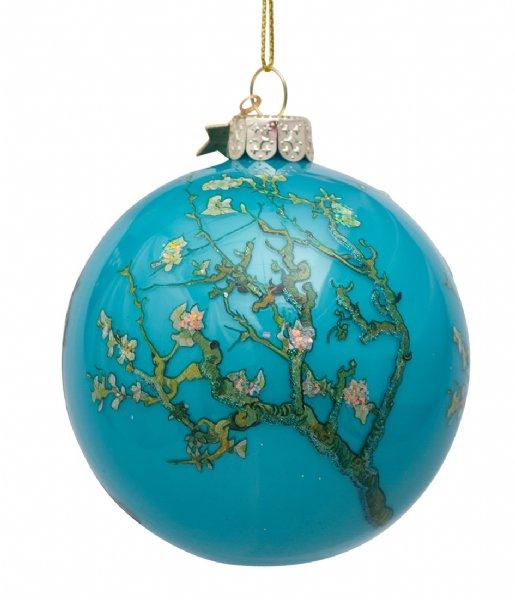 Vondels Kerstversiering Bauble Glass Van Gogh Blossom 8 cm Blue Almond