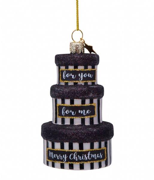 Vondels Kerstversiering Ornament Glass Gift Boxes 10 cm Black/White