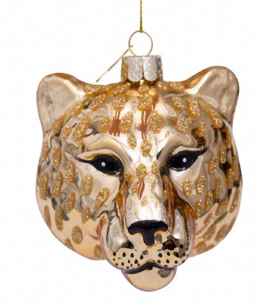 Vondels Kerstversiering Ornament Glass Shiny Panther Head 7.5 cm Gold plated