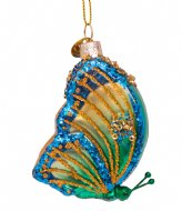 Vondels Ornament Glass Small Butterfly 8 cm Green