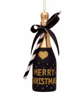 Vondels Ornament Glass Champagne Bottle 16 cm Black